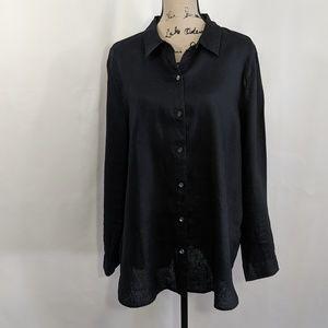 J. Jill Love Linen Long Slv Black Button Shirt Top